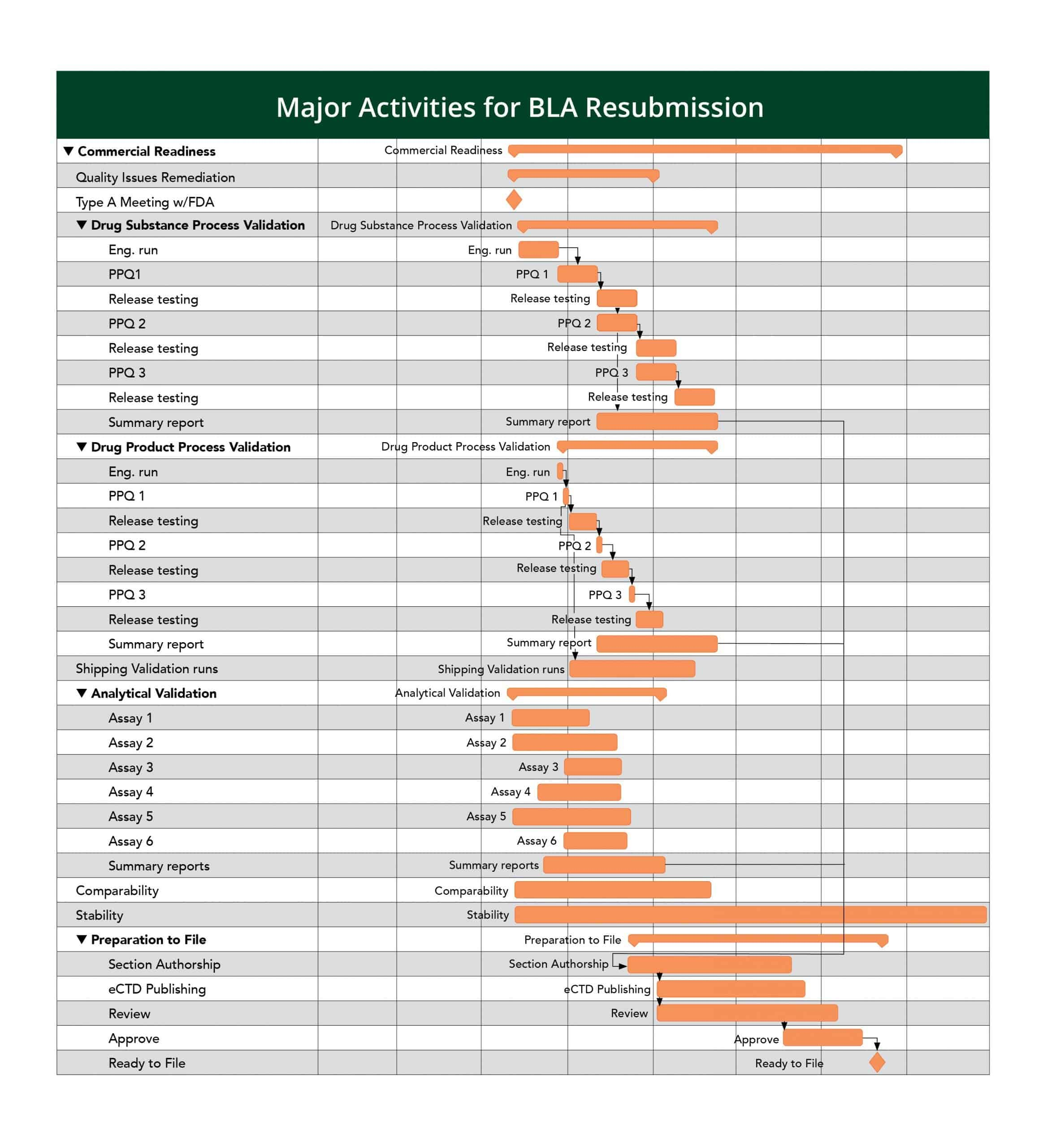 This is a sample gantt chart demonstrating some of the primary activities taken before a BLA resubmission